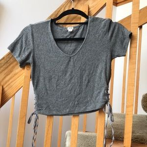 Ribbed Gray Cropped Tshirt with Ribbon Ties